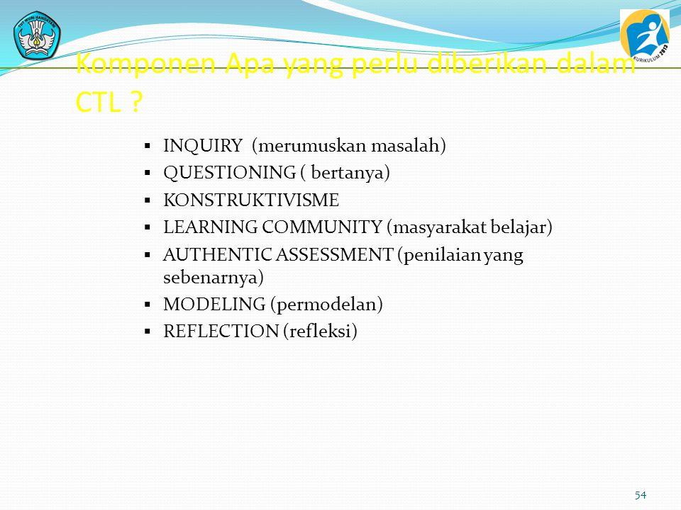 Komponen Apa yang perlu diberikan dalam CTL