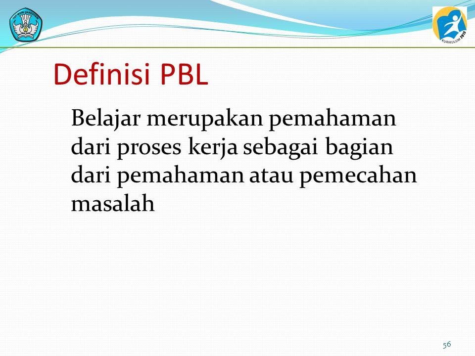 Definisi PBL Belajar merupakan pemahaman dari proses kerja sebagai bagian dari pemahaman atau pemecahan masalah.