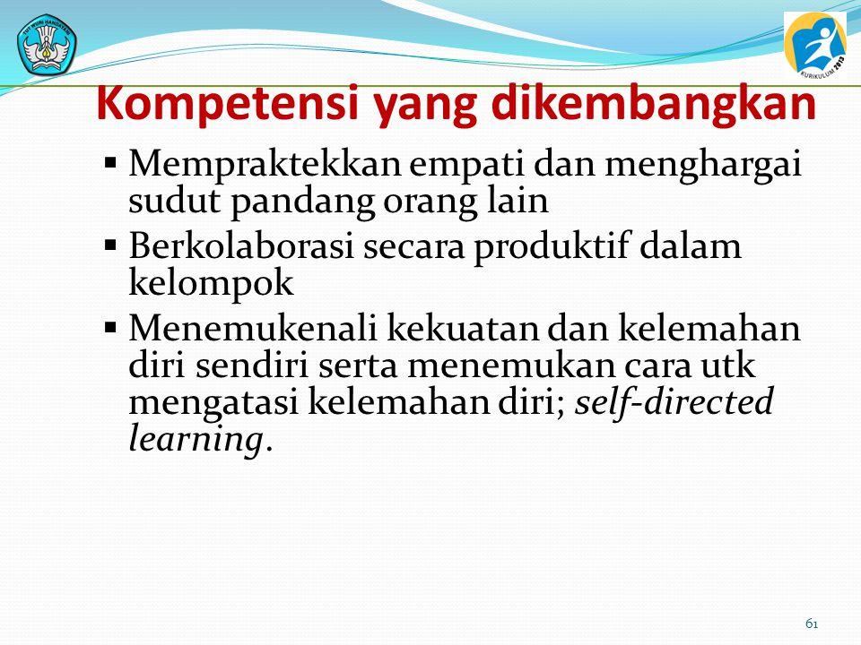 Kompetensi yang dikembangkan