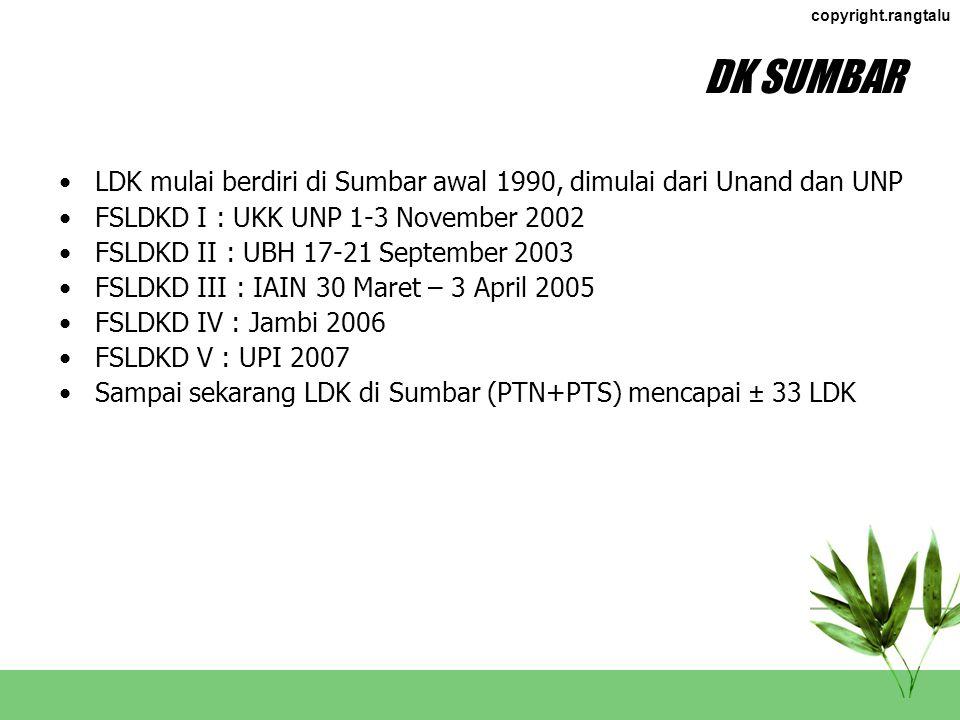 DK SUMBAR LDK mulai berdiri di Sumbar awal 1990, dimulai dari Unand dan UNP. FSLDKD I : UKK UNP 1-3 November 2002.
