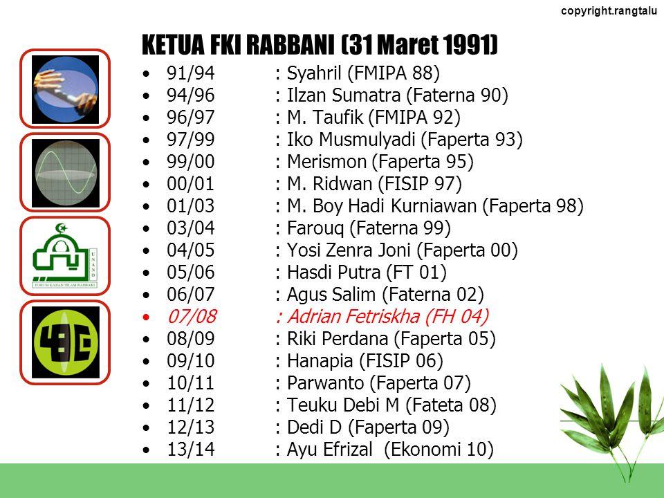 KETUA FKI RABBANI (31 Maret 1991)