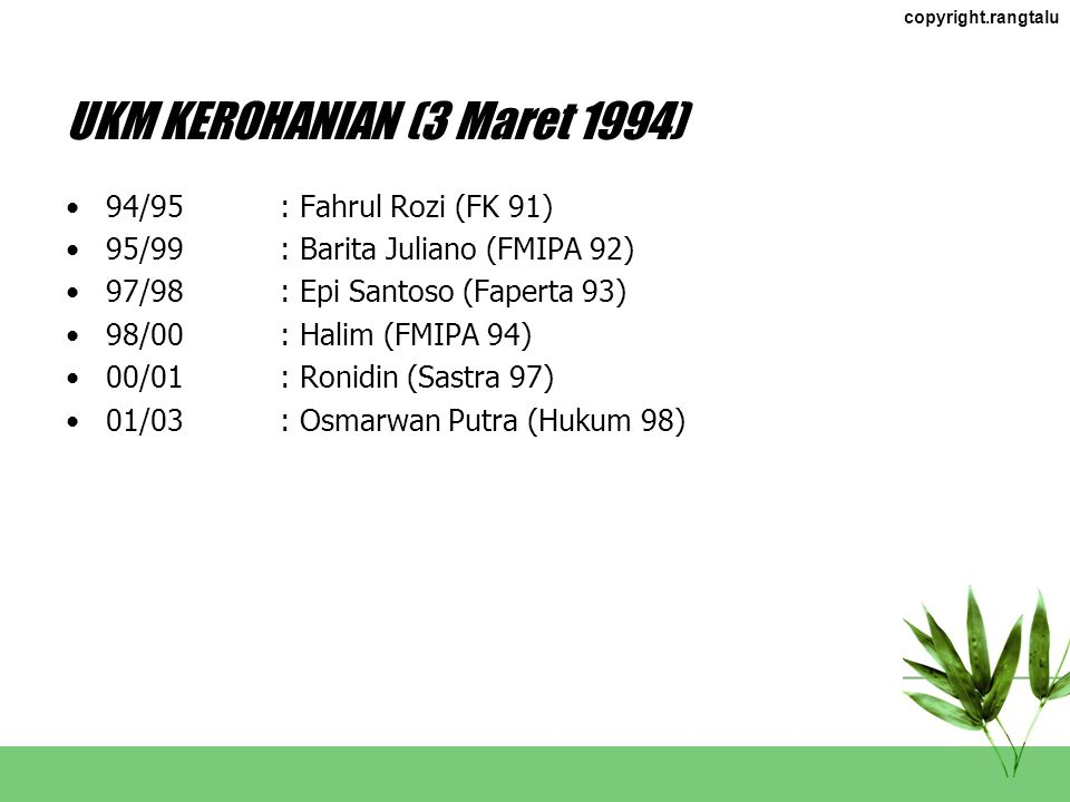 UKM KEROHANIAN (3 Maret 1994)