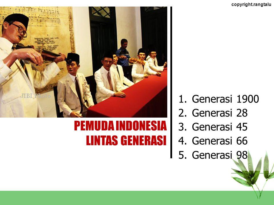 PEMUDA INDONESIA LINTAS GENERASI Generasi 1900 Generasi 28 Generasi 45