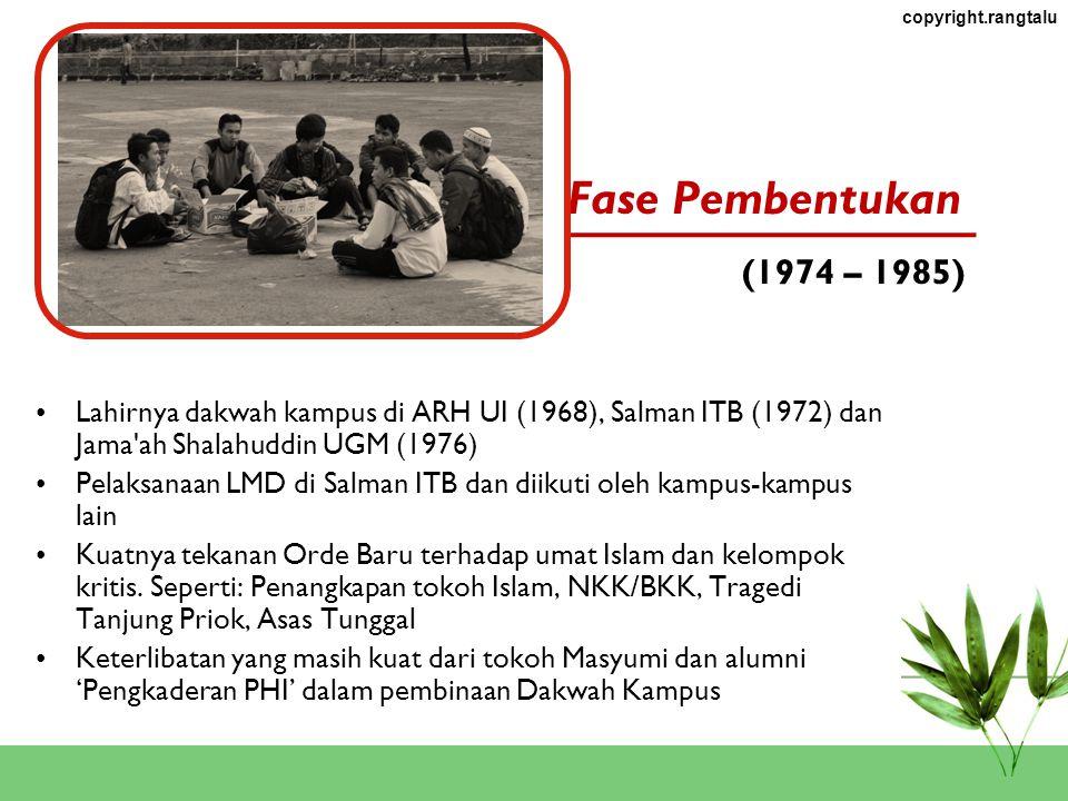 Fase Pembentukan (1974 – 1985) Lahirnya dakwah kampus di ARH UI (1968), Salman ITB (1972) dan Jama ah Shalahuddin UGM (1976)