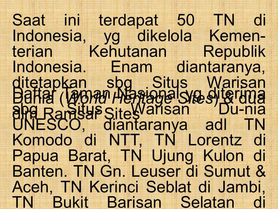 Saat ini terdapat 50 TN di Indonesia, yg dikelola Kemen-terian Kehutanan Republik Indonesia. Enam diantaranya, ditetapkan sbg Situs Warisan Dunia (World Heritage Sites) & dua dlm Ramsar Sites