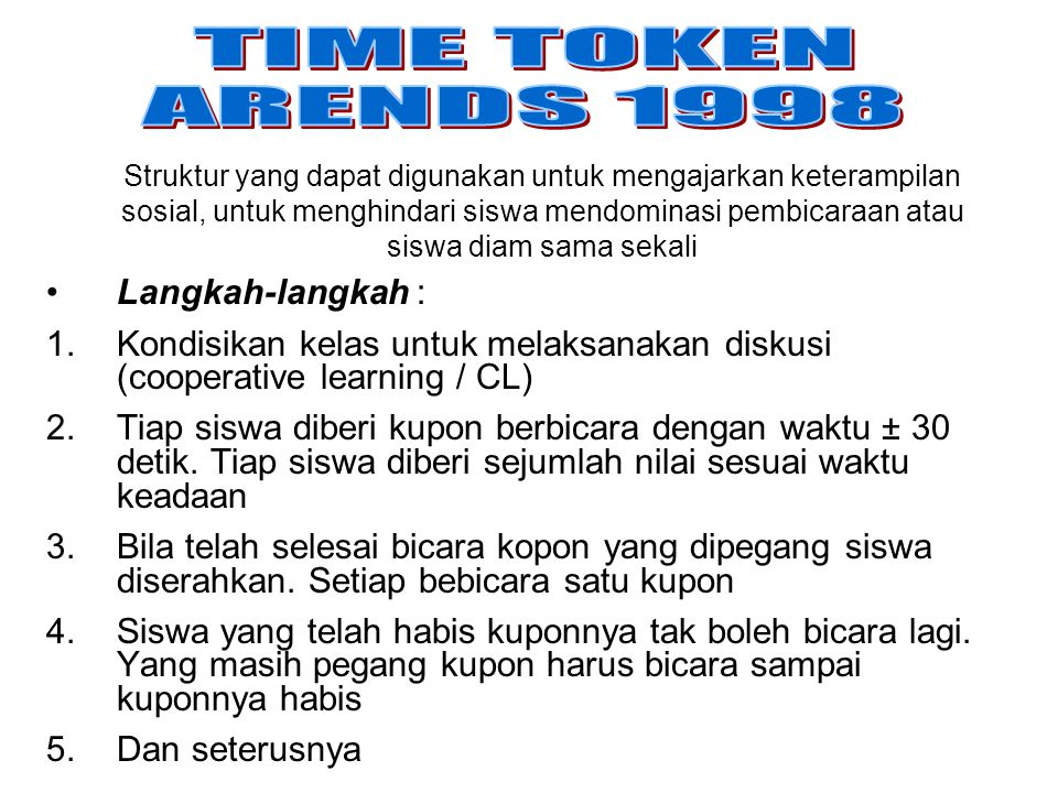 TIME TOKEN ARENDS 1998 Langkah-langkah :