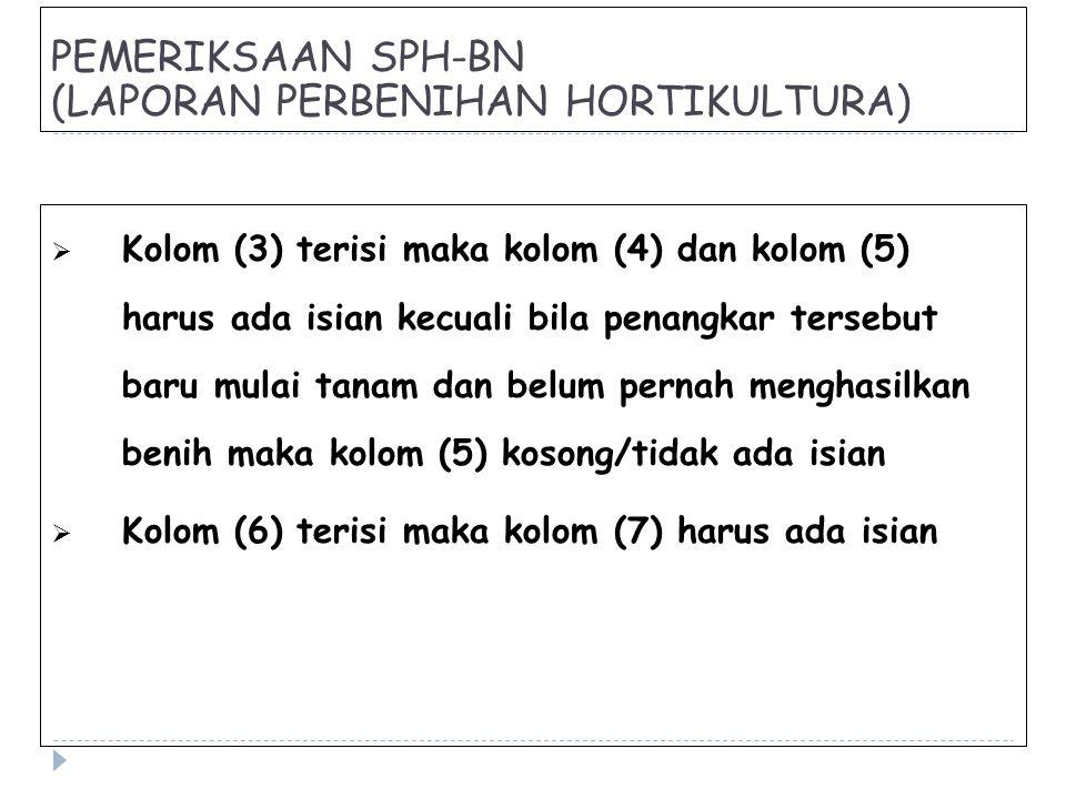 PEMERIKSAAN SPH-BN (LAPORAN PERBENIHAN HORTIKULTURA)