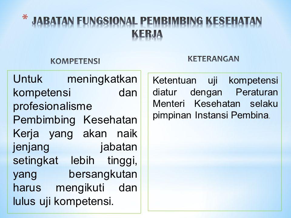 JABATAN FUNGSIONAL PEMBIMBING KESEHATAN KERJA