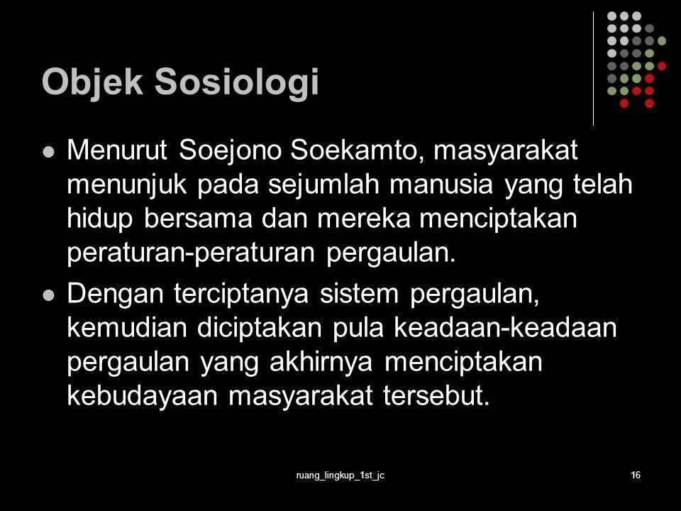 Objek Sosiologi