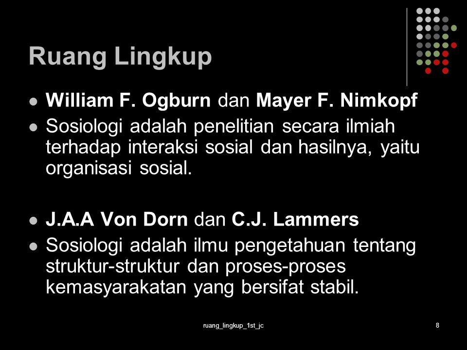 Ruang Lingkup William F. Ogburn dan Mayer F. Nimkopf