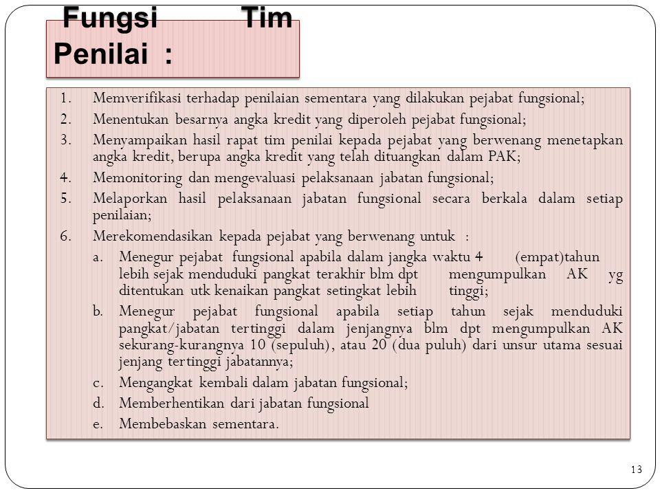 Fungsi Tim Penilai : Memverifikasi terhadap penilaian sementara yang dilakukan pejabat fungsional;