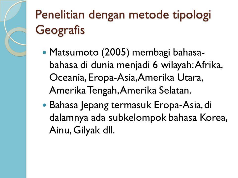 Penelitian dengan metode tipologi Geografis