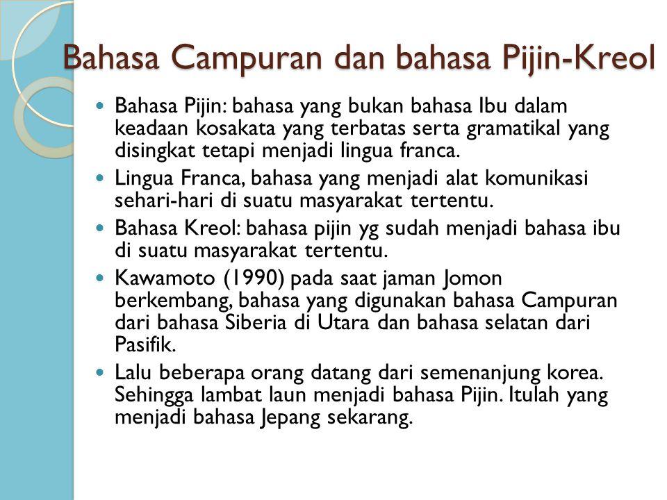 Bahasa Campuran dan bahasa Pijin-Kreol