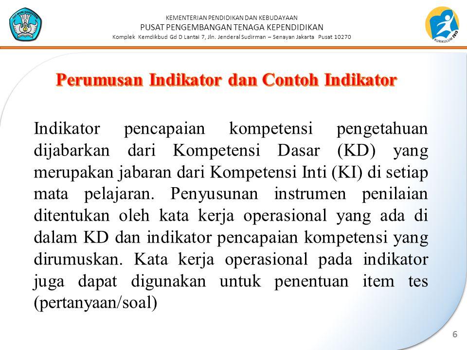 Perumusan Indikator dan Contoh Indikator