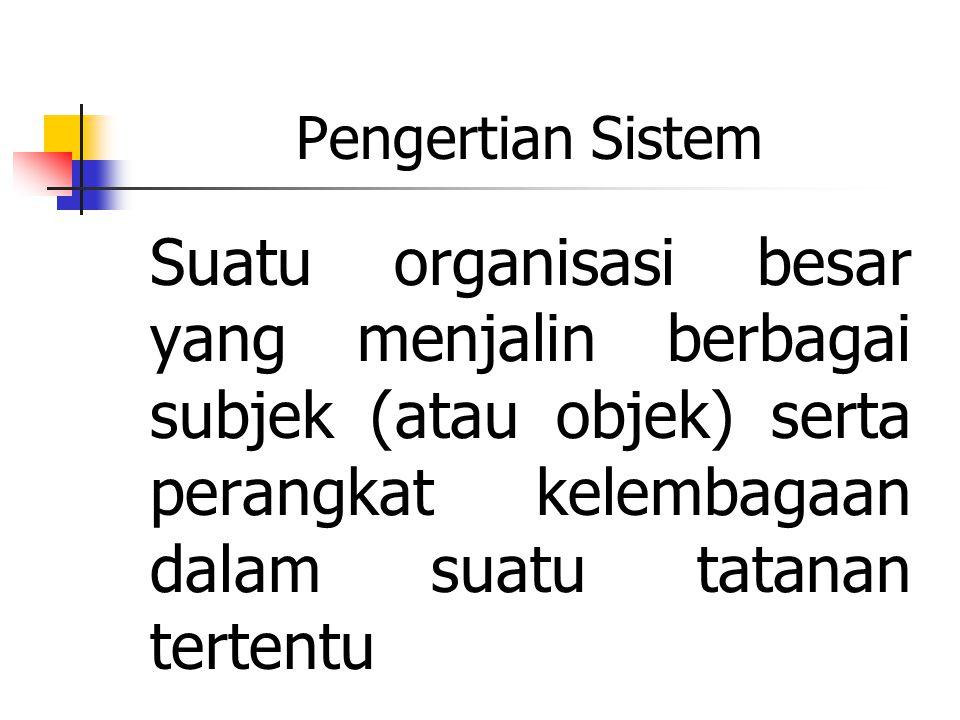 Pengertian Sistem Suatu organisasi besar yang menjalin berbagai subjek (atau objek) serta perangkat kelembagaan dalam suatu tatanan tertentu.