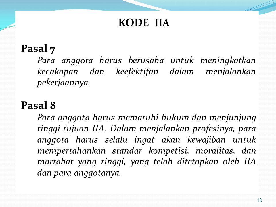 KODE IIA Pasal 7. Para anggota harus berusaha untuk meningkatkan kecakapan dan keefektifan dalam menjalankan pekerjaannya.