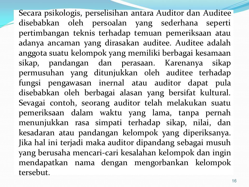 Secara psikologis, perselisihan antara Auditor dan Auditee disebabkan oleh persoalan yang sederhana seperti pertimbangan teknis terhadap temuan pemeriksaan atau adanya ancaman yang dirasakan auditee.
