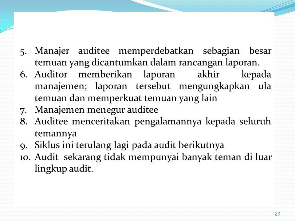 5. Manajer auditee memperdebatkan sebagian besar temuan yang dicantumkan dalam rancangan laporan.