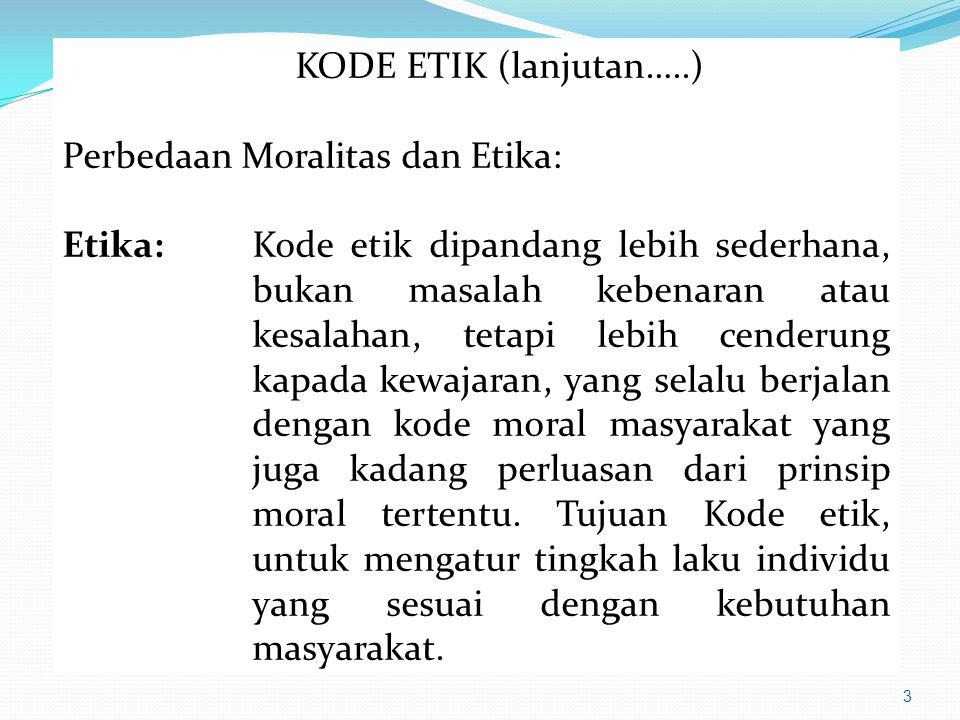 KODE ETIK (lanjutan…..) Perbedaan Moralitas dan Etika: