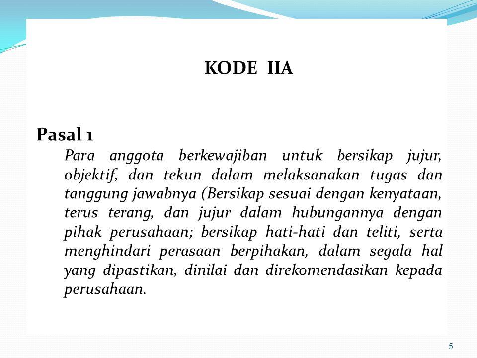 KODE IIA Pasal 1.