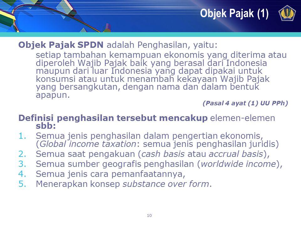 Objek Pajak (1) Objek Pajak SPDN adalah Penghasilan, yaitu: