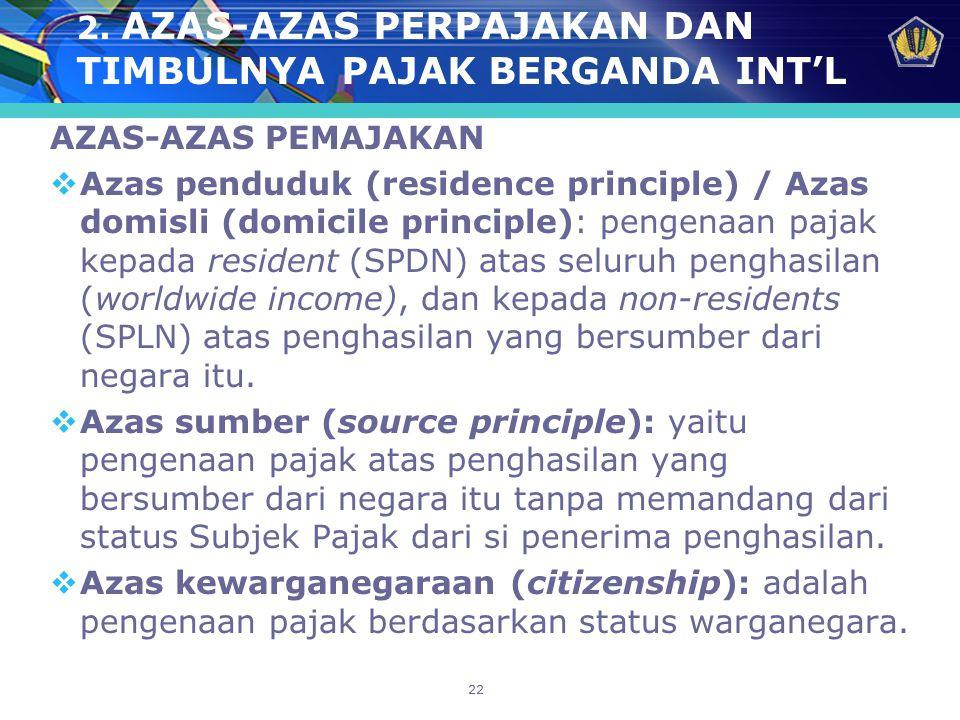 2. AZAS-AZAS PERPAJAKAN DAN TIMBULNYA PAJAK BERGANDA INT'L