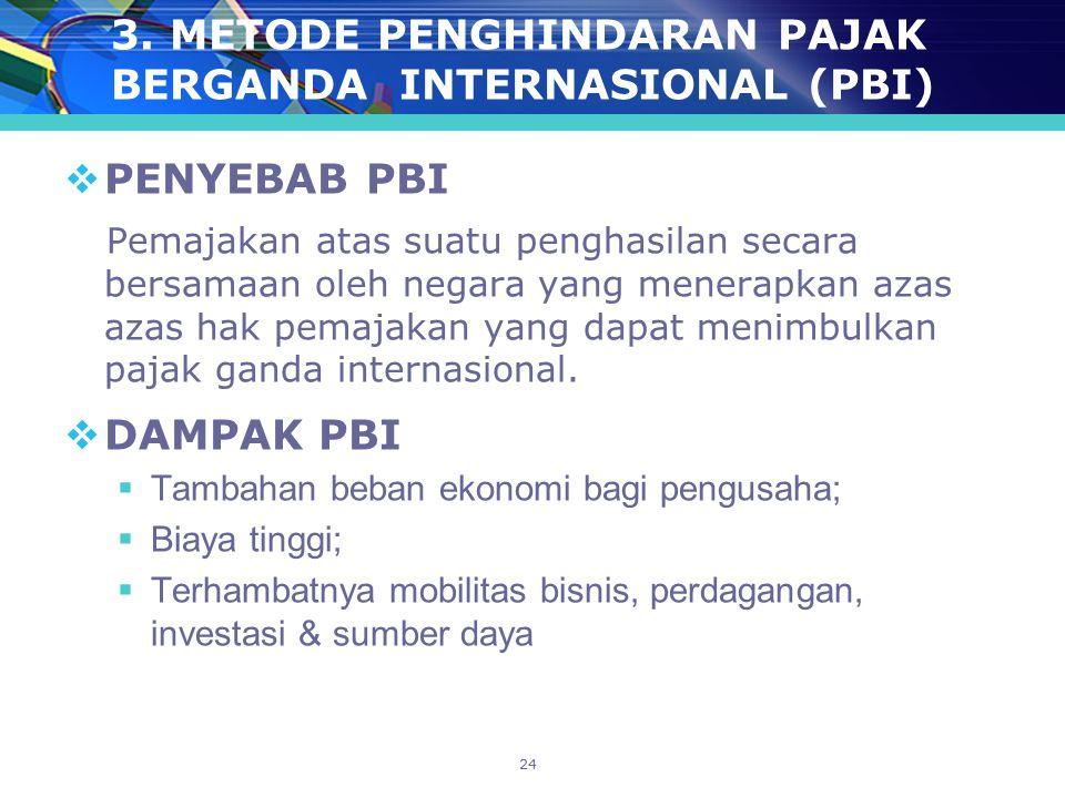 3. METODE PENGHINDARAN PAJAK BERGANDA INTERNASIONAL (PBI)