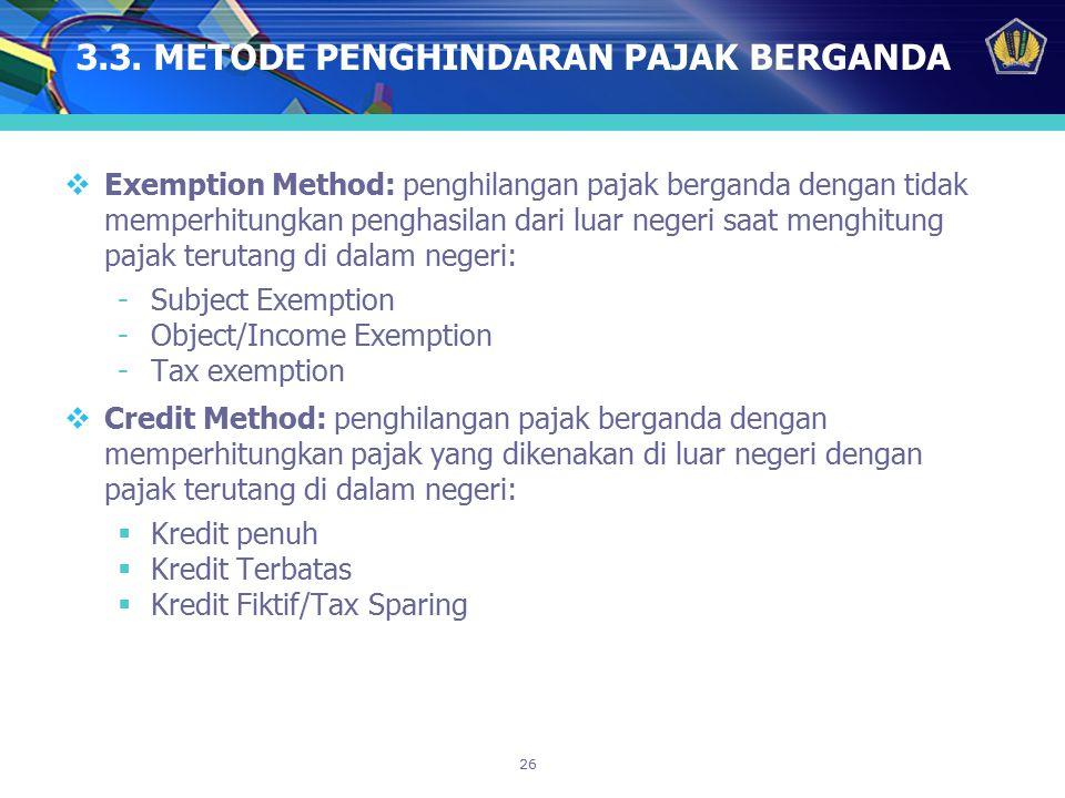 3.3. METODE PENGHINDARAN PAJAK BERGANDA
