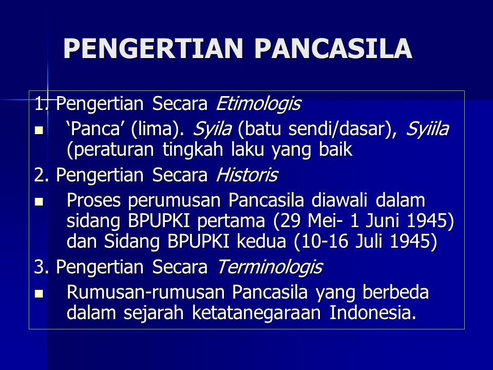 PENGERTIAN PANCASILA 1. Pengertian Secara Etimologis