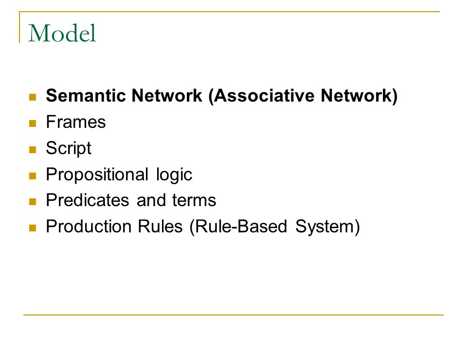 Model Semantic Network (Associative Network) Frames Script