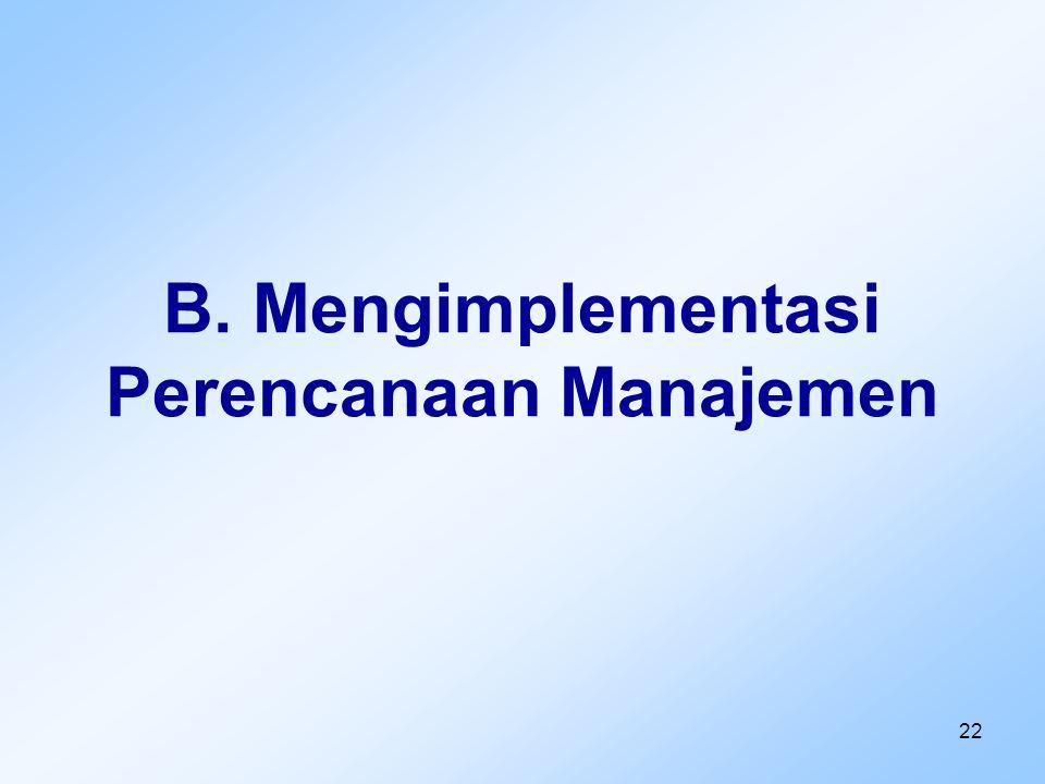 B. Mengimplementasi Perencanaan Manajemen