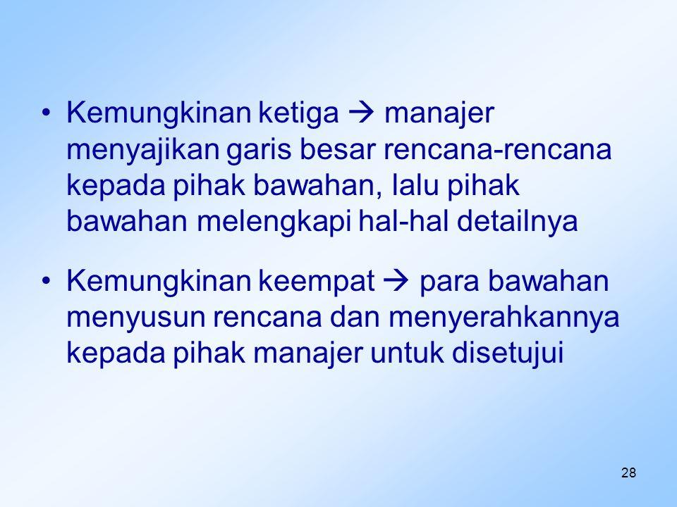 Kemungkinan ketiga  manajer menyajikan garis besar rencana-rencana kepada pihak bawahan, lalu pihak bawahan melengkapi hal-hal detailnya