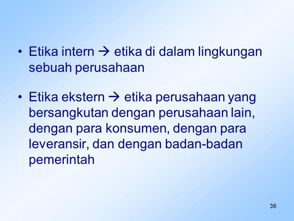 Etika intern  etika di dalam lingkungan sebuah perusahaan