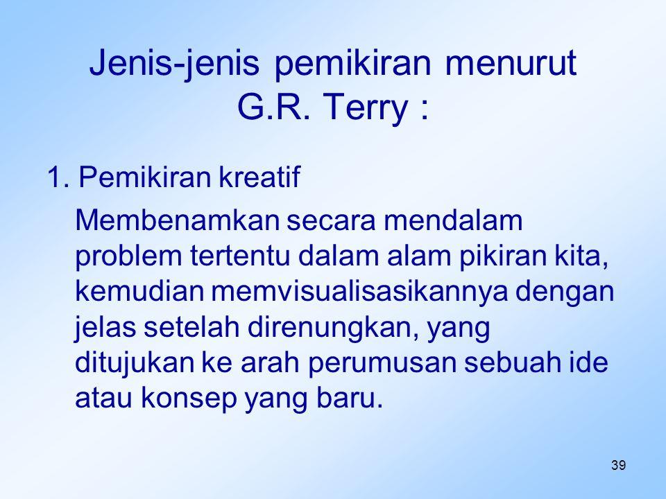 Jenis-jenis pemikiran menurut G.R. Terry :