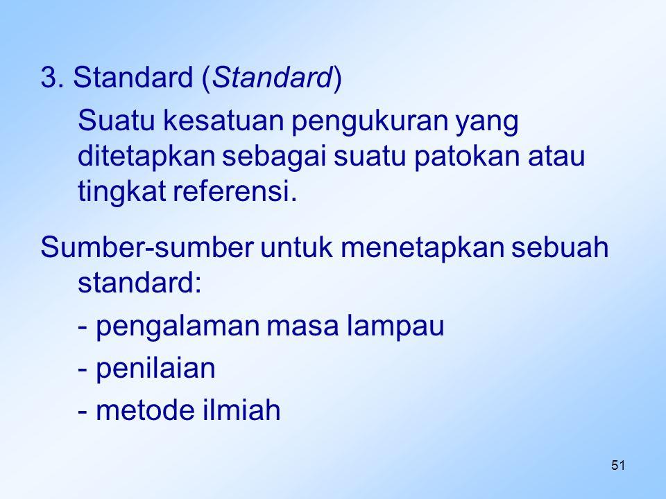 3. Standard (Standard) Suatu kesatuan pengukuran yang ditetapkan sebagai suatu patokan atau tingkat referensi.