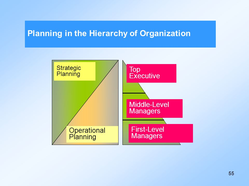 Planning in the Hierarchy of Organization
