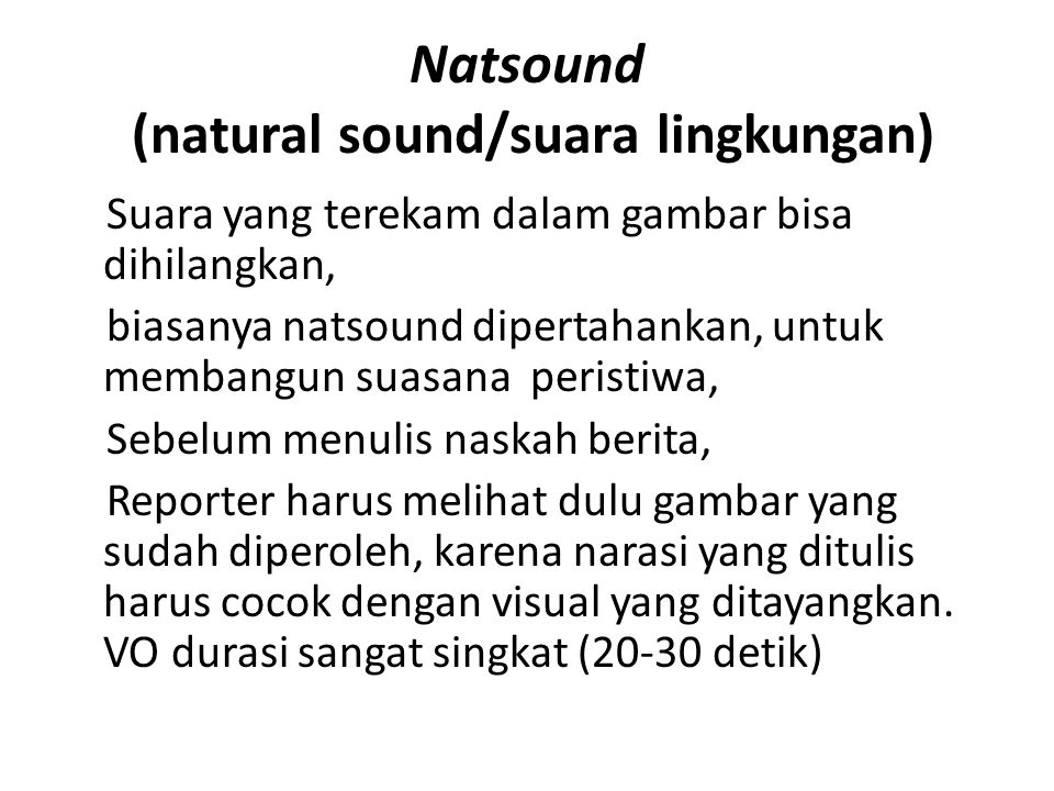 Natsound (natural sound/suara lingkungan)