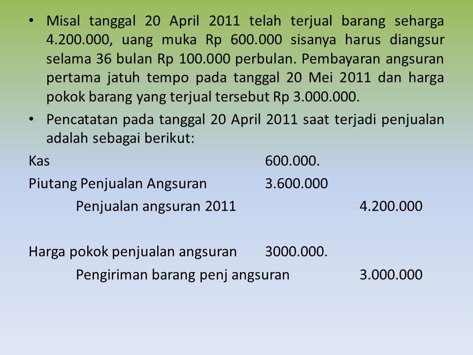 Misal tanggal 20 April 2011 telah terjual barang seharga 4. 200