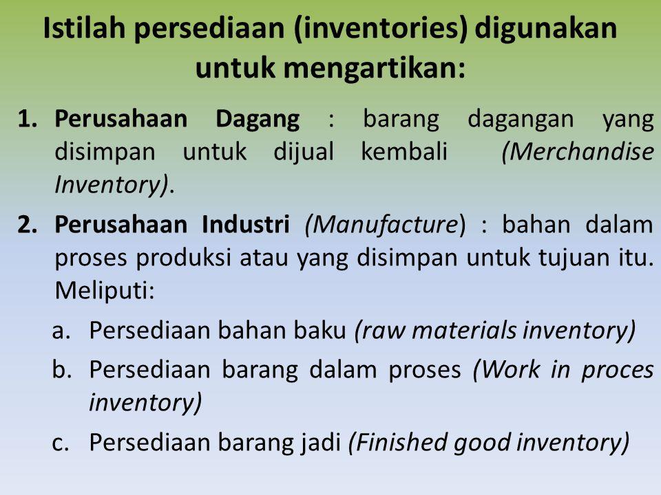 Istilah persediaan (inventories) digunakan untuk mengartikan:
