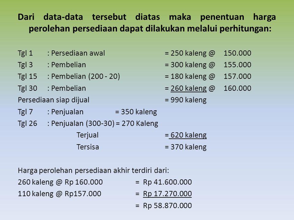 Dari data-data tersebut diatas maka penentuan harga perolehan persediaan dapat dilakukan melalui perhitungan:
