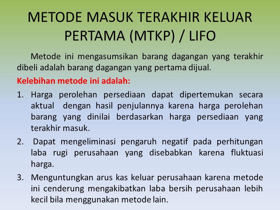 METODE MASUK TERAKHIR KELUAR PERTAMA (MTKP) / LIFO