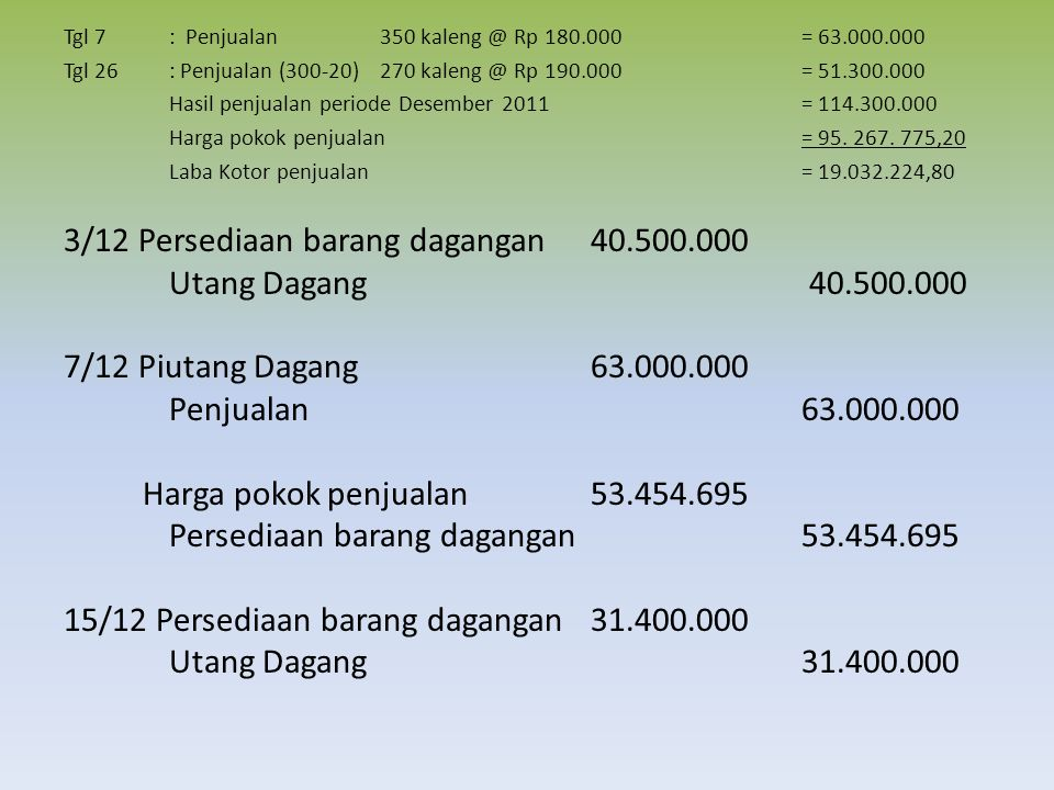 3/12 Persediaan barang dagangan 40.500.000 Utang Dagang 40.500.000