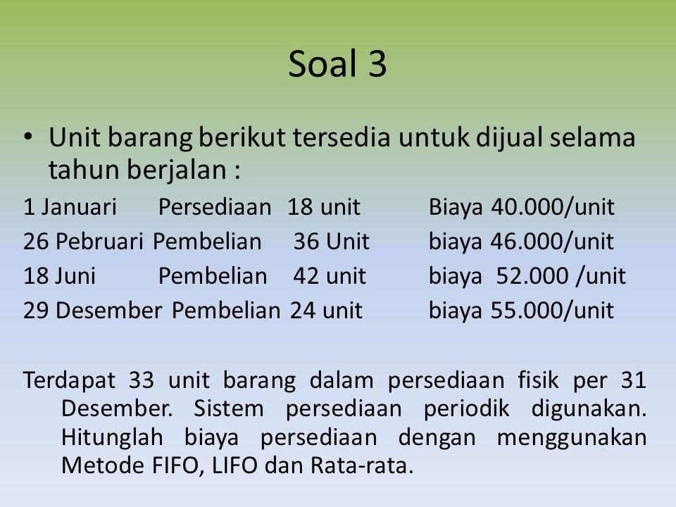Soal 3 Unit barang berikut tersedia untuk dijual selama tahun berjalan : 1 Januari Persediaan 18 unit Biaya 40.000/unit.