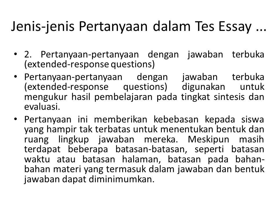 Jenis-jenis Pertanyaan dalam Tes Essay ...