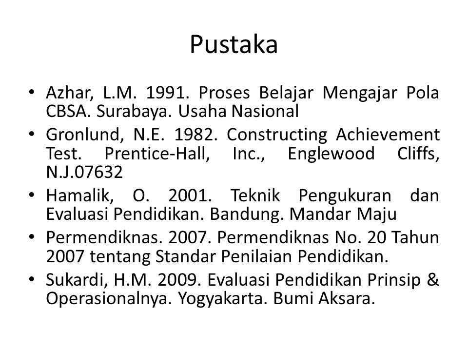 Pustaka Azhar, L.M. 1991. Proses Belajar Mengajar Pola CBSA. Surabaya. Usaha Nasional.
