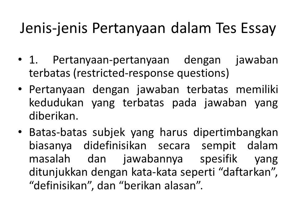 Jenis-jenis Pertanyaan dalam Tes Essay
