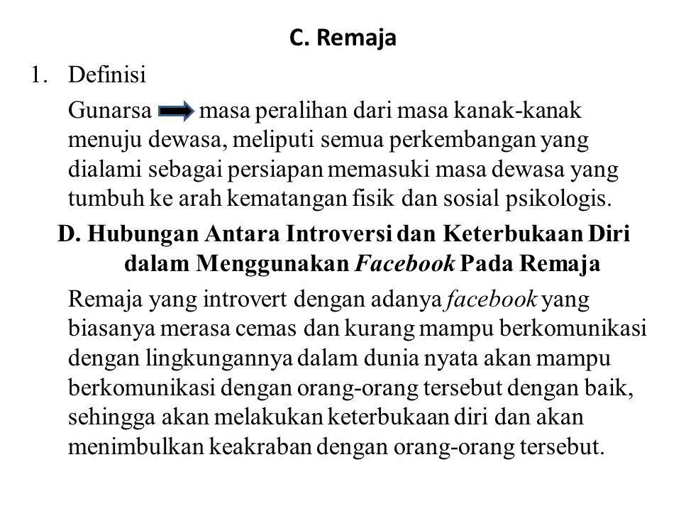C. Remaja Definisi.