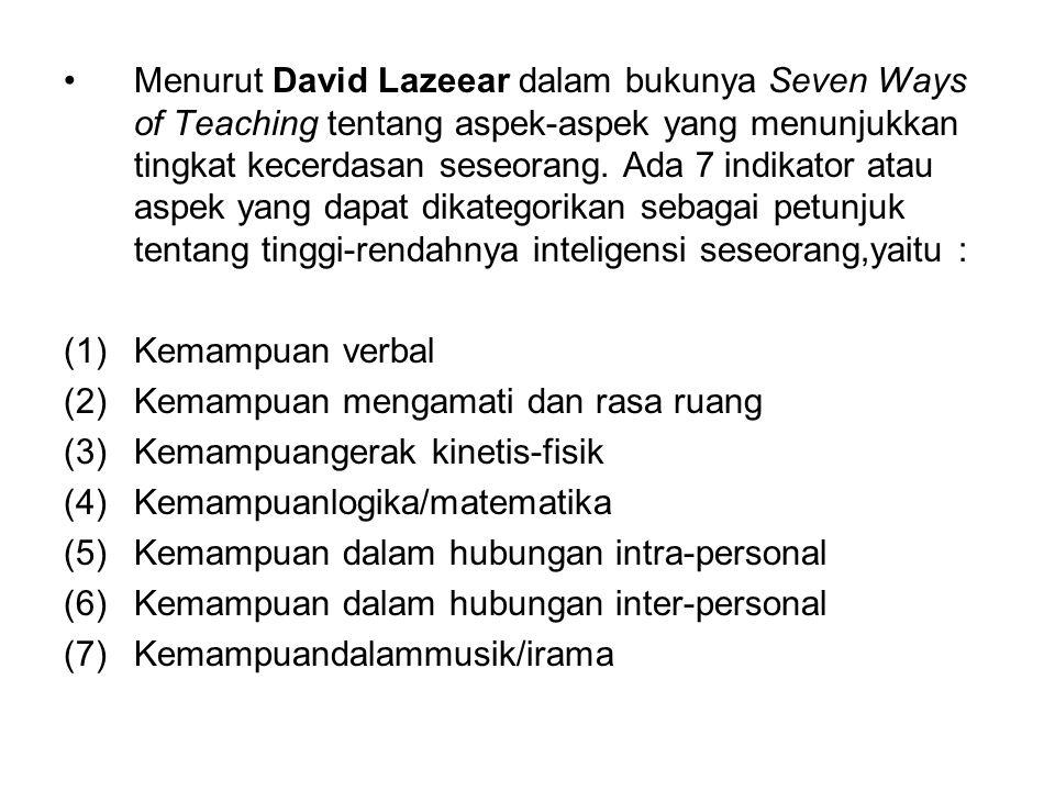 Menurut David Lazeear dalam bukunya Seven Ways of Teaching tentang aspek-aspek yang menunjukkan tingkat kecerdasan seseorang. Ada 7 indikator atau aspek yang dapat dikategorikan sebagai petunjuk tentang tinggi-rendahnya inteligensi seseorang,yaitu :