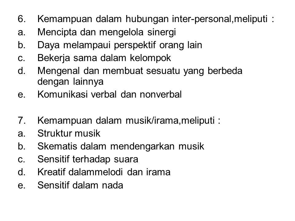 Kemampuan dalam hubungan inter-personal,meliputi :