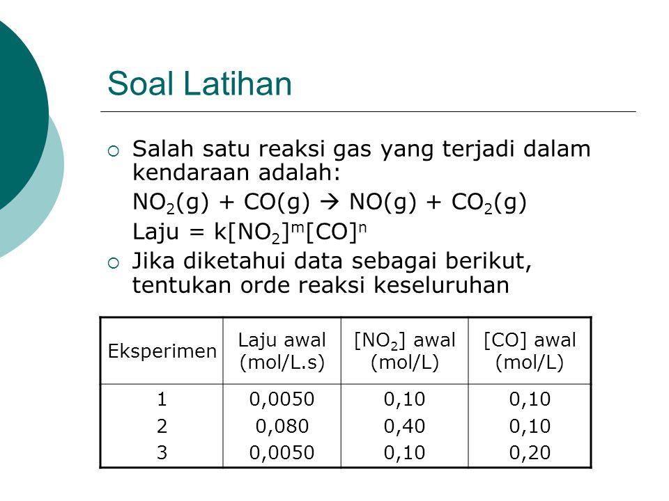 Soal Latihan Salah satu reaksi gas yang terjadi dalam kendaraan adalah: NO2(g) + CO(g)  NO(g) + CO2(g)